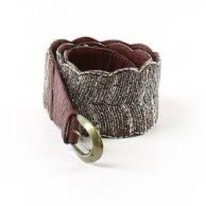 Anthro Jasper & Jeera Genuine Leather Beaded Belt